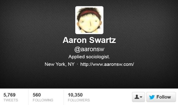 Aaron Swartz's Twitter Page, Courtesy of Twitter Inc.